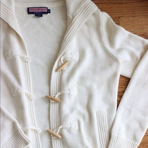 Vineyard Vines Wood Latch Cable Collared Cardigan